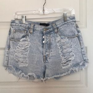 Minkpink Distressed Denim Shorts - size M